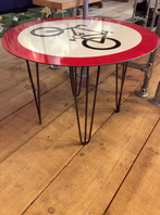 Road sign coffee table with bicycle, hairpin legs